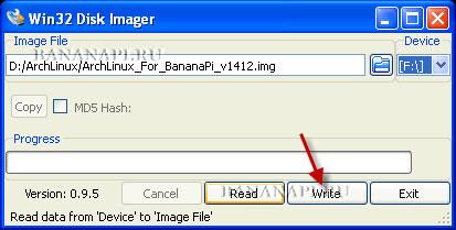 Запись образа диска с ArchLinux для Banana Pi