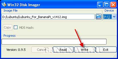 Запись образа диска с Lubuntu для Banana Pi